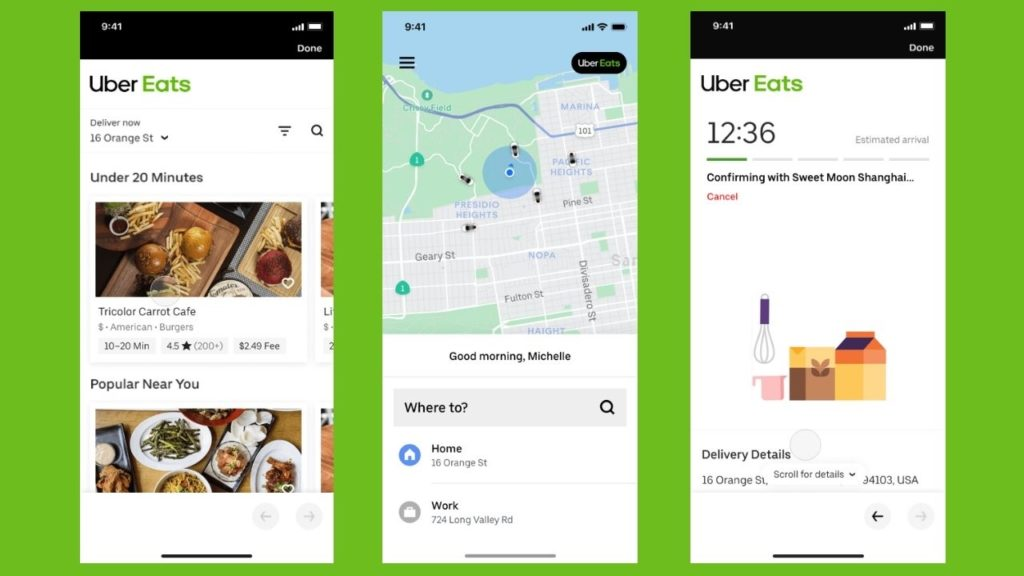 Uber Eats Food delivery app interface